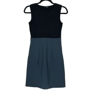 Theory Black and Gray Belted Wool Dress